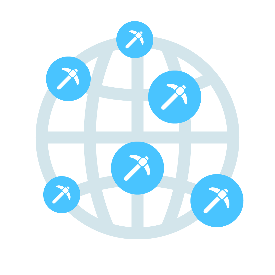 Graphical representation of a globe dotted with pick-axe icons.