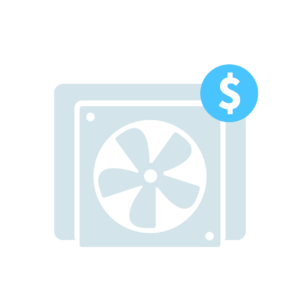 Graphic representation of a bitcoin mining computer with a dollar sign