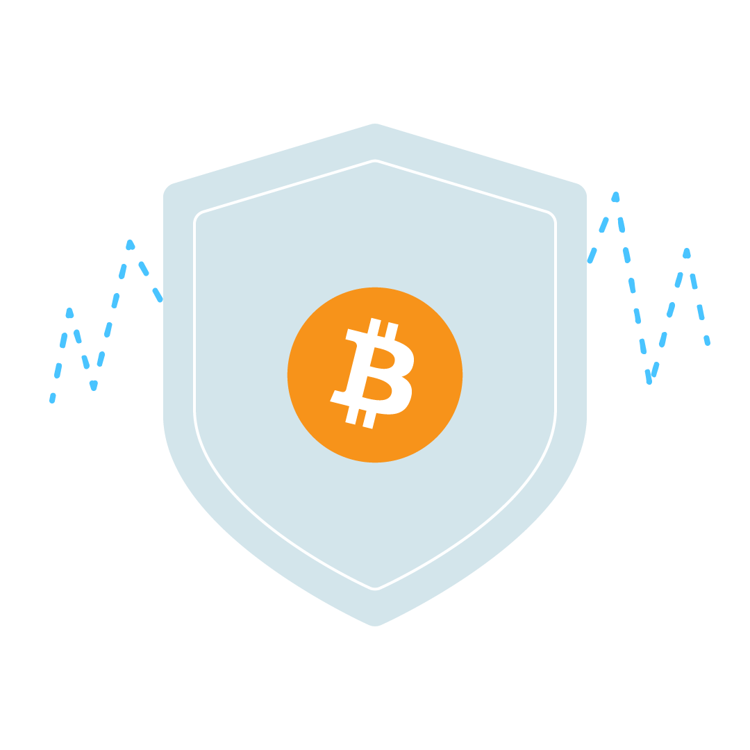 Illustration of a shield with a Bitcoin logo, with volatility graphs in the background.