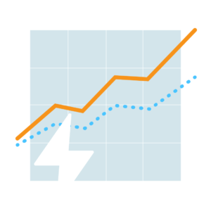 Illustration of an electric spark on top of a chart with rising figures.