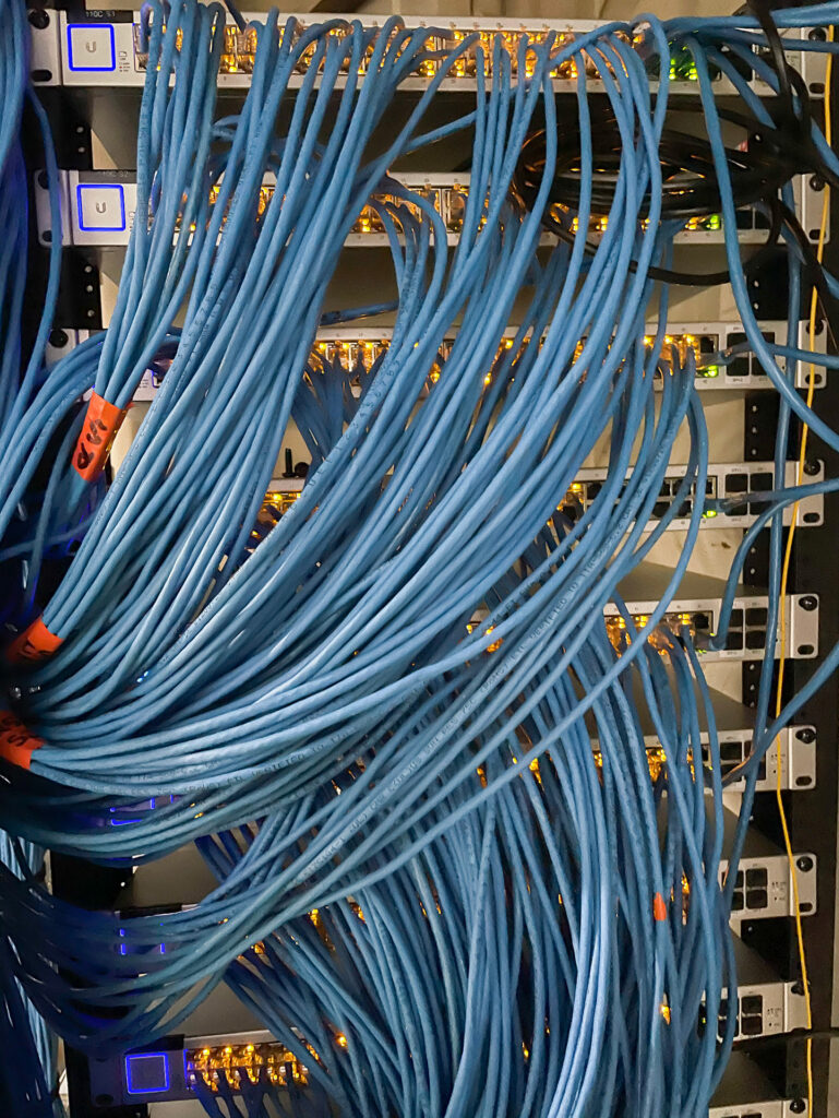 Photo of Hardin, Montana data center. Close-up on network cables.